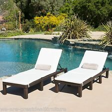 (Set of 2) Multibrown Wicker Adjustable Chaise Lounge Chairs w/ Ivory Cushions