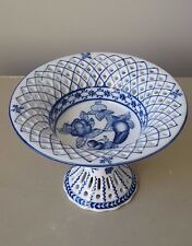 """Vintage Chinese Blue and White Reticulated Porcelain Compote Footed Bowl 7"""" D"""