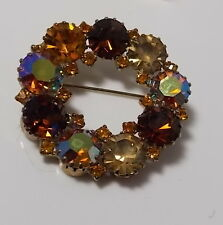 Vintage 1950's KARU Smoky Golden Topaz AB Glass Rhinestone Gold Brooch Pin 9b14