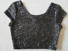 WOMENS EXPRESS BLACK SEQUINED SPARKLE SHORT SLEEVE CROP TOP SEXY GLAMOUR SMALL