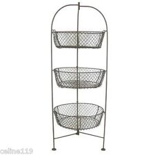 NEW Standing 3-Tier Wire Metal Basket Fruit Vegetable Kitchen Holder Decor