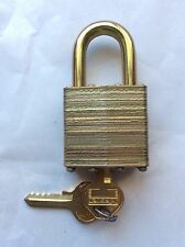 VINTAGE BRASS LOCK WITH WORKING KEY MASTER LOCK COMPANY MEXICO