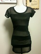 Forever 21 NEW Women's Small Floral Lace Dress See-Through T-SHIRT Sexy Black