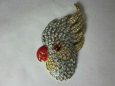 Vintage Tropical Bird Cockatoo Brooch Pin Rhinestones Beautiful