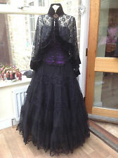 Whitby Goth Steampunk Vittoriano Pizzo Nero & Rete Gonna Cosplay 1539