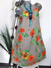 NEU SOMMER STRAND LEICHTE TUNIKA KLEID FLOWERS BLÜTEN PRINT SCHLAMM 38 40 42 44