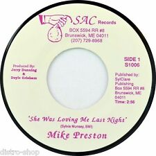 "7"" MIKE PRESTON She Was Loving Me Last Night SYLVIA MUNSEY SAC Country USA 1992"