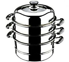 "FOOD STEAMER Stainless Steel Cooker 26 cm / 10.2"" MEDIUM 3 Tier HOME RESTAURANT"