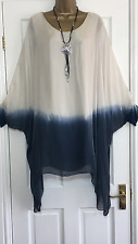 NEW ITALIAN LAGENLOOK DIP DYE SILK TUNIC DRESS BEIGE FIT 14 16 18 20 22 C279