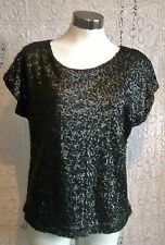 fab size14.BLACK SEQUINNED TROPHY TOP.SIZE 14.GENEROUSLY CUT FOR CURVY LADY
