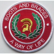 Boots And Braces A Way Of Life Circle Red & White Embroidered Patch