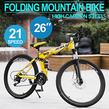 Men/Women Folding Mountain Bike MTB Bicycle 21-Speed Off-road Racing Yellow