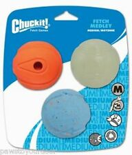 Chuckit Dog Fetch Medley 3 Pk Whistler Max Glow Rebounce Medium Balls 6.5cm Toy