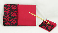 Red Wedding Guest Register Book Gold Pen + Sand black lace 70 titled pages