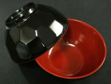 2x Black/Red Plastic Rice Miso Soup Bowls 4.75in #920-BR