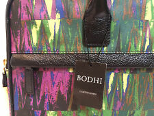 "BODHI 15"" Laptop Attaché Laptop Bag - Purple Green Canvas Black Leather trim NWT"