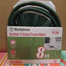 Westinghouse 28374 3-Outlet Fan Shaped 8-Feet Outdoor Extension Cord  Green