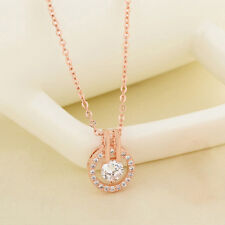 Women White/ Rose Gold Plated Rhinestone Crystal Pendant Necklace Neck Lace Hot.