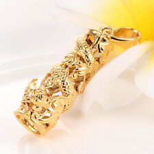 Womens mens mystic Dragon pendant Fit long necklace Gold filled statement