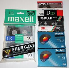 6 BLANK TAPE CASSETTE MAXELL FUJI SCOTCH 90 TDK SEALED Orig boombox Recording