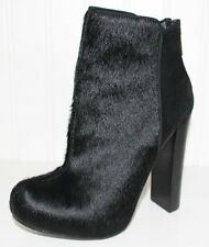 NEW VICTORIA'S SECRET VS BLACK ANIMAL CALF HAIR PANELED BOOTIE BOOTS SIZE 5