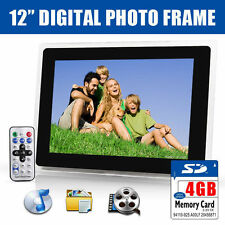 "New 12"" Black HD Digital Photo Frame USB MP3 Audio Video Film Photograph+ 4GB SD"