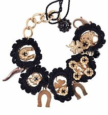 DOLCE & GABBANA RUNWAY SICILY Brass and Glas Bracelet Black 03970