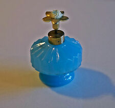 Irice Perfume Bottle Aqua Blue Glass Jeweled Flower Pump