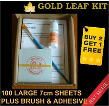 100 Sheet Gold Leaf Kit, adhesive and brush. Gilding, Art, Craft, Design