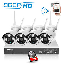 ANNKE WiFi 4CH 960P HD NVR Wireless IP Network Home Security Camera System 1TB