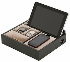 Valet Organizer Jewelry Watch Cell Phone Tablet Storage Wooden Box Mens Gift New