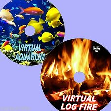 SOOTHING VIRTUAL AQUARIUM + LOGFIRE TWIN DVD SET VIEW ON FLATSCREEN TV/PC NEW