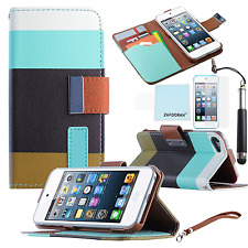 Leather Wallet Stand Case Cover For APPLE iPod Touch 4th 5th 6th Generation Gen