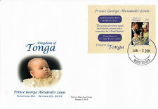 Tonga 2014 FDC Prince George Royal Baby Christening Day 1v M/S Cover William