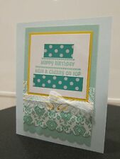 "Stampin Up ""Happy Birthday with Cherry on Top"" Washi Tape Cake Handmade Card"