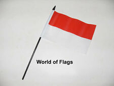 """INDONESIA SMALL HAND WAVING FLAG 6"""" x 4"""" Asia Asian Crafts Table Desk Display"""