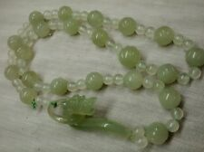 Pretty vintage Chinese green white icy   jade jadeite dragon clasp  necklace