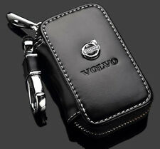 Genuine Leather cowhide Car Key Holder Keychain Ring Case Bag For Volvo