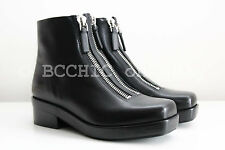 BN ALEXANDER WANG 'federica low boot' black double zipper silver square boots 36