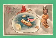 1916 WINSCH HALLOWEEN POSTCARD WITCH FLIES ON CORNCOB PLANE BAT OWL JOLS SATURN