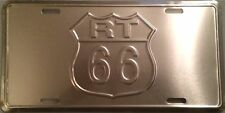 """Route 66 Chrome Embossed Novelty 6"""" x 12""""  Metal Car License Plate Auto Tag Sign"""