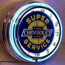 "18"" Super CHEVROLET Service Sign Bowtie Double Neon Clock Chevelle Camaro Chevy"