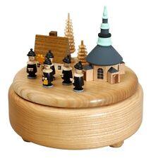 Caja de música natural Pueblo Seiffen con Kurrende 13 cm Reloj NUEVO Navidad