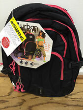 NEW WITH TAGS: Urban Crew Laptop Backpack - Black/Pink Trim Alarm, Security Bag