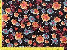 Light Blue & Orange Flowers w/ Red Hearts Quilting Fabric 1/2 Yard  #262