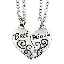 2 Piece Best Friend Silver Broken Heart Pattern Pendant Chain Necklace For Women