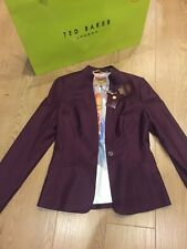 BNWT and Bag❤️Ted Baker Shiny Lavanta Suit Jacket Blazer size 2 (UK 10) RRP 215£
