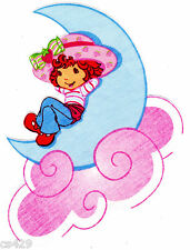 "9"" STRAWBERRY SHORTCAKE ON A MOON CHARACTER NOVELTY FABRIC APPLIQUE IRON ON"