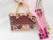 Betsey Johnson inlaid Crystal handbag pendant necklace # A048