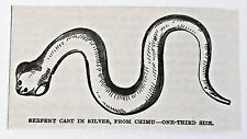 small 1883 magazine engraving ~ SERPENT CAST IN SILVER, FROM CHIMU Peru